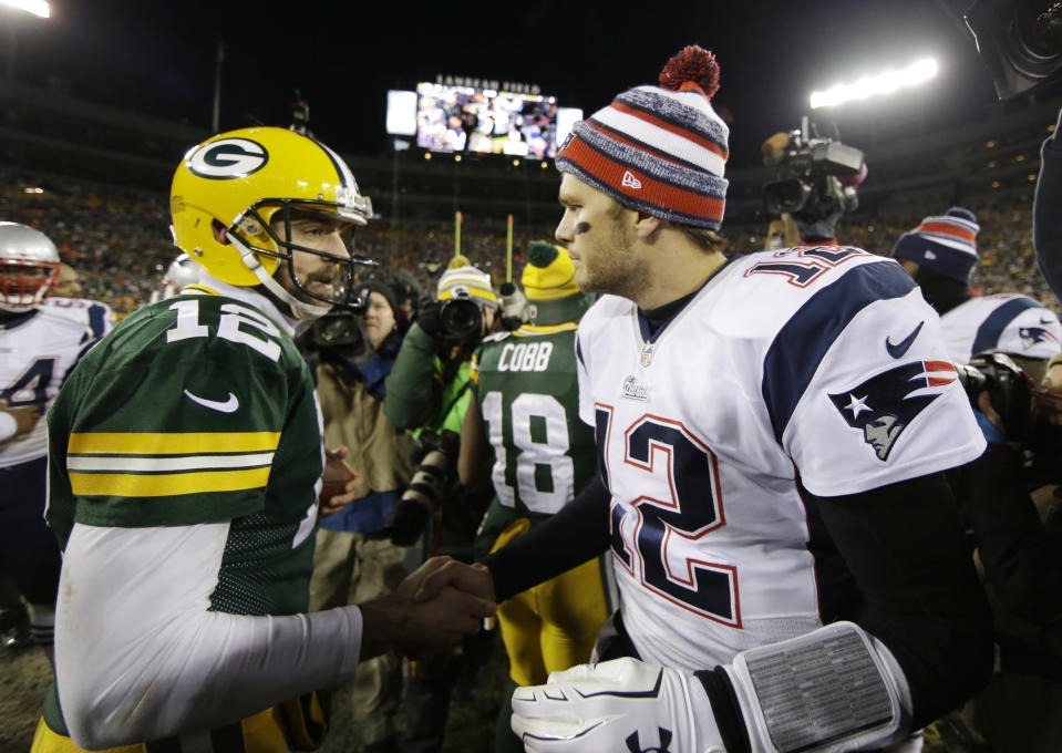 Tom Brady praised Rodgers earlier this week, telling a coach that he would throw for 7,000 yards with Patriots. (AP)