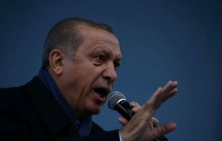 Turkish President Tayyip Erdogan addresses his supporters during a rally for the upcoming referendum in the Kurdish-dominated southeastern city of Diyarbakir, Turkey, April 1, 2017. REUTERS/Murad Sezer