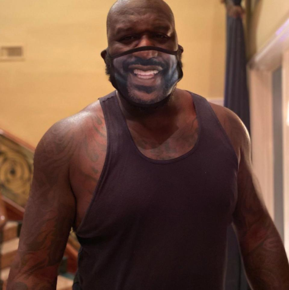 Shaq in printed mask