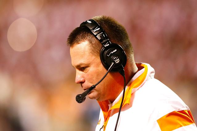 KNOXVILLE, TN - OCTOBER 25: Head coach Butch Jones of the Tennessee Volunteers looks on during the game against the Alabama Crimson Tide at Neyland Stadium on October 25, 2014 in Knoxville, Tennessee. (Photo by Kevin C. Cox/Getty Images)