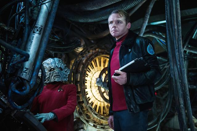 Simon Pegg as <em>Enterprise</em> engineer Montgomery Scott and Deep Roy as Keenser in <em>Star Trek Beyond</em> (Photo: Kimberley French/Paramount Pictures/Courtesy Everett Collection)