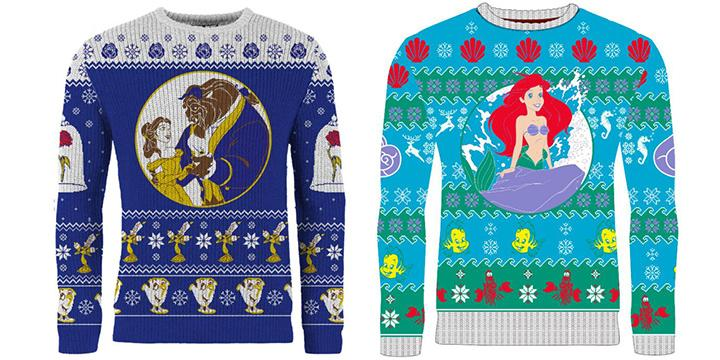 Deck the halls in style with these holiday sweaters inspired by your favorite Disney films. (Credit: Merchoid)
