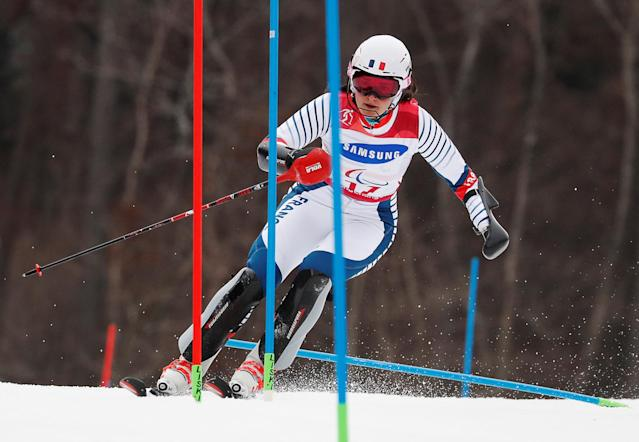 Alpine Skiing - Pyeongchang 2018 Winter Paralympics - Women's Slalom - Standing - Run 1 - Jeongseon Alpine Centre - Jeongseon, South Korea - March 18, 2018 - Marie Bochet of France. REUTERS/Paul Hanna