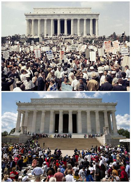 In this combination of Associated Press file photo, at top, large crowds gather at the Lincoln Memorial to demonstrate for civil rights in Washington, on Aug. 28, 1963; and at bottom, participants gather on the same steps to commemorate the 50th anniversary of the 1963 march, Saturday, Aug. 24, 2013, in Washington. The 2013 event was an homage to a generation of activists that endured fire hoses, police abuse and indignities to demand equality for African Americans. (AP Photo/File)