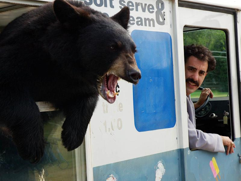 Borat (Sacha Baron Cohen) drives around a bear in the original 2006 film 'Borat'20th Century Fox