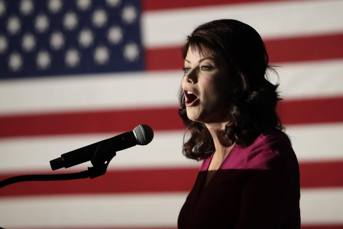 FILE - In this Nov.. 7, 2018 file photo, then Wisconsin Lt. Gov. Rebecca Kleefisch speaks at an election night event in Pewaukee, Wis. Republican Rebecca Kleefisch, who spent eight years as lieutenant governor under Scott Walker, has launched her campaign for governor Thursday, Sept. 9, 2021. (AP Photo/Morry Gash, File)