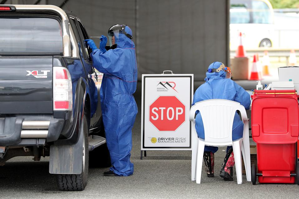 A file image of a coronavirus testing clinic. Newmarch House has confirmed 63 infections and 14 deaths.