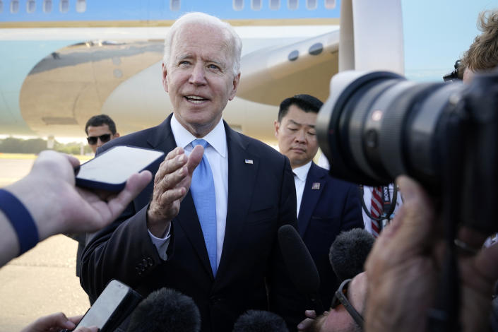 President Biden apologized for his terse answer to a CNN reporter on Wednesday. (AP Photo/Patrick Semansky)