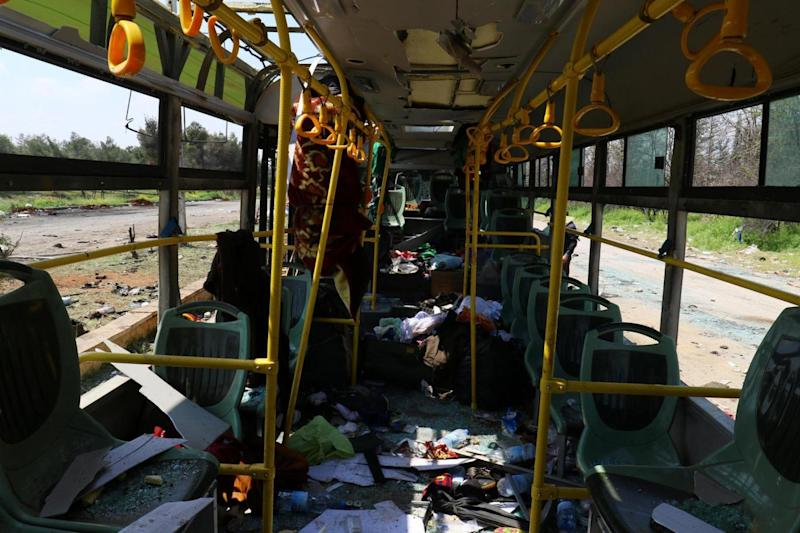 The interior of a damaged bus (REUTERS)