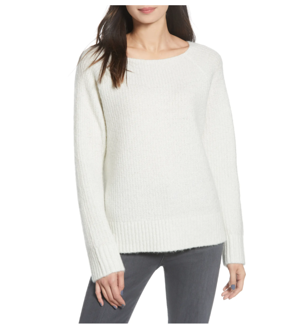 Chelsea28 Rib Metallic Sweater. Image via Nordstrom.
