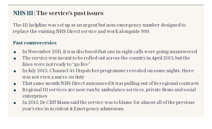 NHS 111   The service's past issues