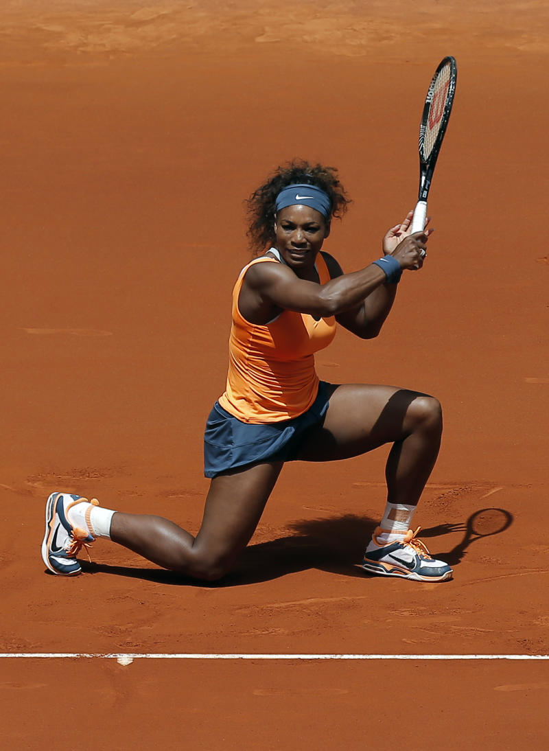 Serena Williams from U.S.  during the match against Maria Kirilenko from Russia at the Madrid Open tennis tournament, in Madrid, Thursday, May 9, 2013. (AP Photo/Andres Kudacki)