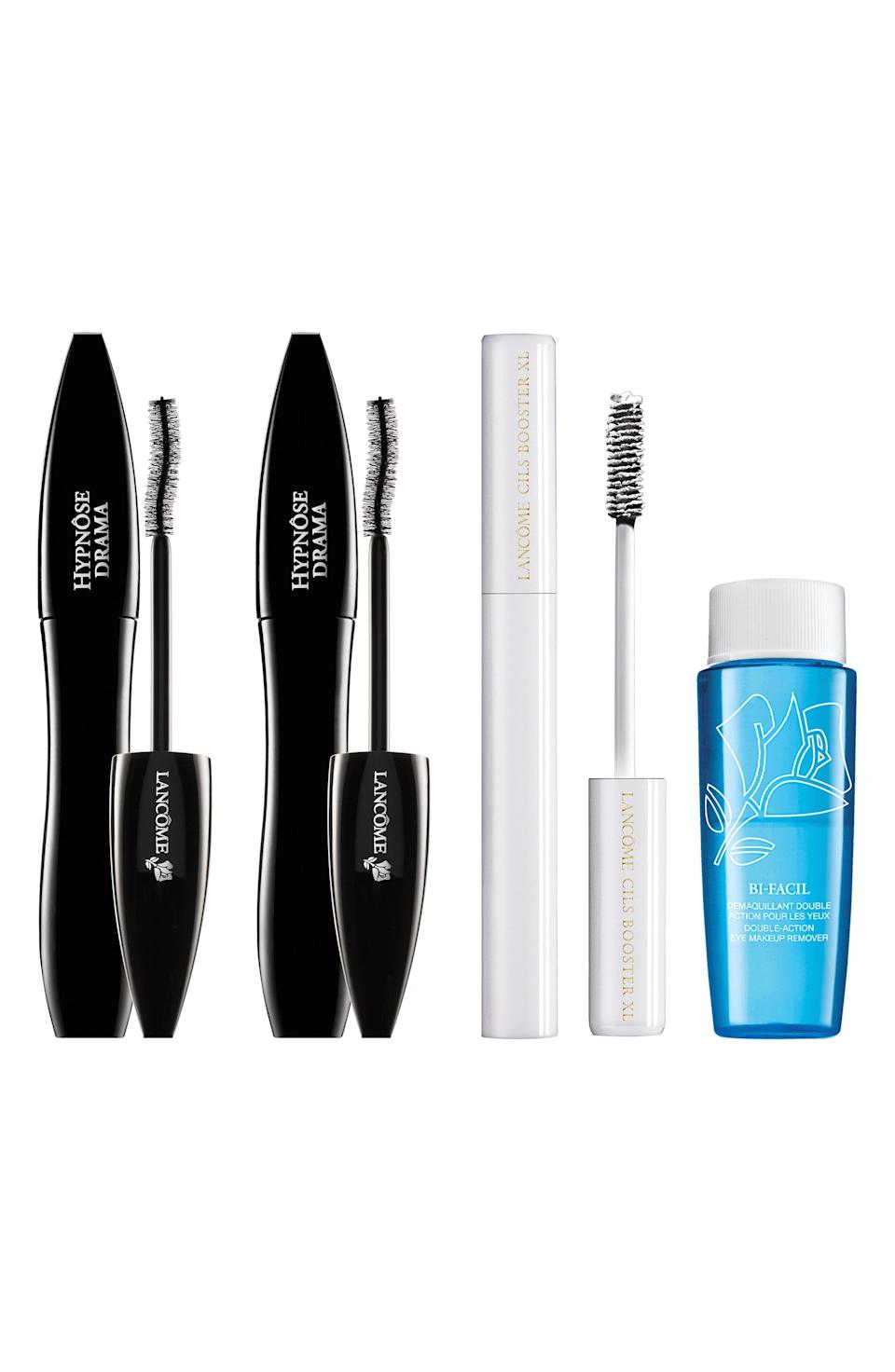 """<p><strong>Lancôme</strong></p><p>nordstrom.com</p><p><strong>$61.00</strong></p><p><a href=""""https://go.redirectingat.com?id=74968X1596630&url=https%3A%2F%2Fwww.nordstrom.com%2Fs%2Flancome-hypnose-drama-mascara-set-98-value%2F5914790&sref=https%3A%2F%2Fwww.elle.com%2Fbeauty%2Fg36944650%2Fnorstrom-anniversary-beauty-sale-2021%2F"""" rel=""""nofollow noopener"""" target=""""_blank"""" data-ylk=""""slk:Shop Now"""" class=""""link rapid-noclick-resp"""">Shop Now</a></p><p>This mascara and primer combo adds so much length that a stiff wind might lift you off your feet. Plus, the set comes with a makeup remover that'll make cleansing your face a breeze.</p>"""
