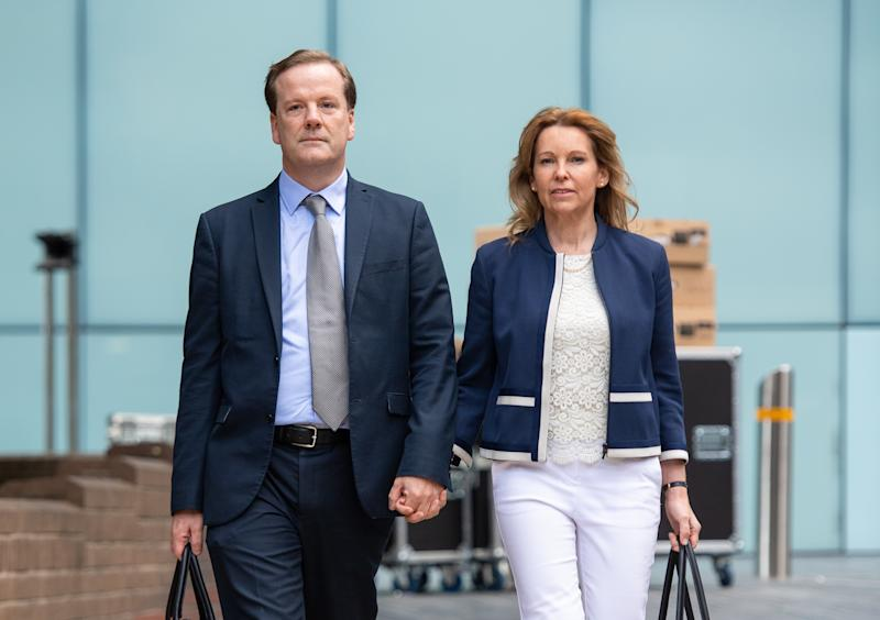 Former Conservative MP Charlie Elphicke arriving at Southwark Crown Court, London, alongside MP for Dover Natalie Elphicke, where he faces three charges of sexual assault.