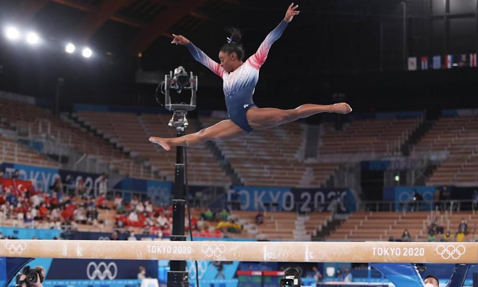 Simone Biles during her beam routine on Tuesday in Tokyo