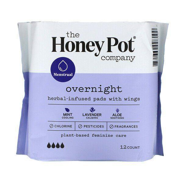 """<p><strong>The Honey Pot Company</strong></p><p>iherb.com</p><p><strong>$7.99</strong></p><p><a href=""""https://go.redirectingat.com?id=74968X1596630&url=https%3A%2F%2Fwww.iherb.com%2Fpr%2FThe-Honey-Pot-Company-Herbal-Infused-Pads-with-Wings-Overnight-12-Count%2F100019&sref=https%3A%2F%2Fwww.bestproducts.com%2Flifestyle%2Fg35106196%2Fbest-organic-pads%2F"""" rel=""""nofollow noopener"""" target=""""_blank"""" data-ylk=""""slk:Shop Now"""" class=""""link rapid-noclick-resp"""">Shop Now</a></p><p>These natural and herbal overnight pads from The Honey Pot Company help you properly manage your period. They're made with pesticide-free cotton and infused with essential oils for a soothing and cooling effect. </p>"""