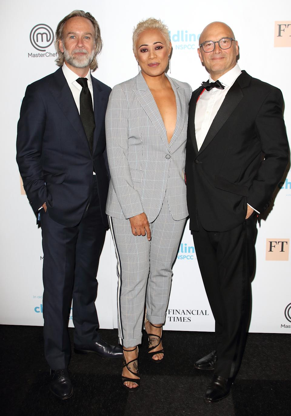 LONDON, UNITED KINGDOM - 2019/09/26: Marcus Wareing, Monica Galetti and Gregg Wallace attend The Childline Ball 2019 partnered with MasterChef for this year's theme at Old Billingsgate in London. (Photo by Keith Mayhew/SOPA Images/LightRocket via Getty Images)