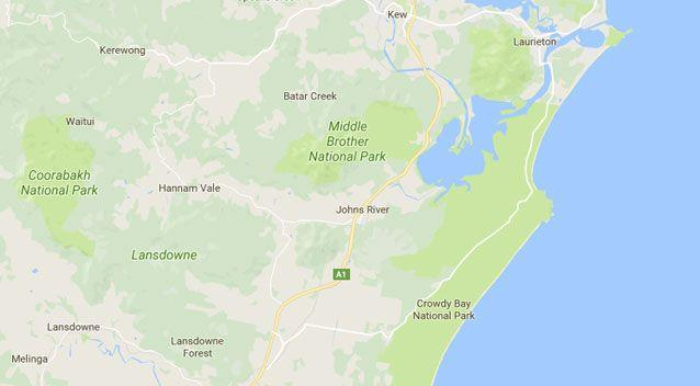 The plane has reportedly crashed in Johns River, south of Port Macquarie. Source: Google Maps
