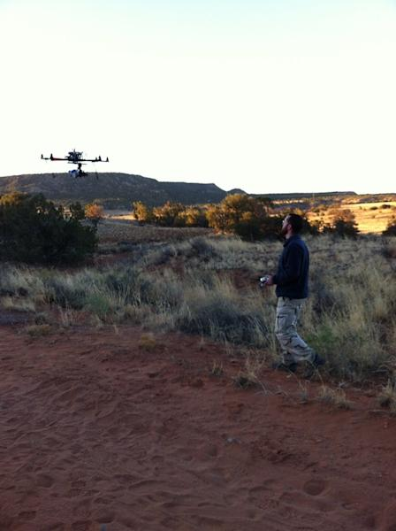 Archaeologists flew a drone over an ancient site called Blue J in northwestern New Mexico to obtain aerial thermal images of the site.