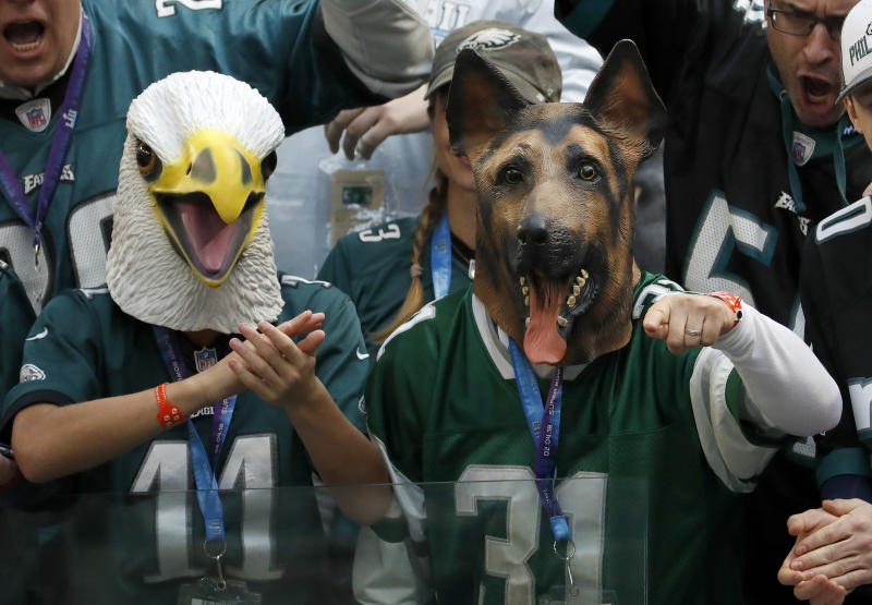 Philadelphia Eagles fans, who presumably didn't steal their seats out of U.S. Bank Stadium, cheer during Super Bowl LII. (AP)
