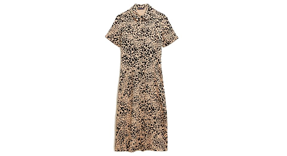 Animal Print Midi Shirt Dress