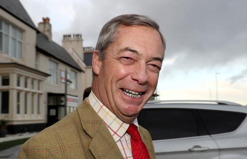 FILE PHOTO: Brexit Party leader Nigel Farage campaigns in Seaton Carew