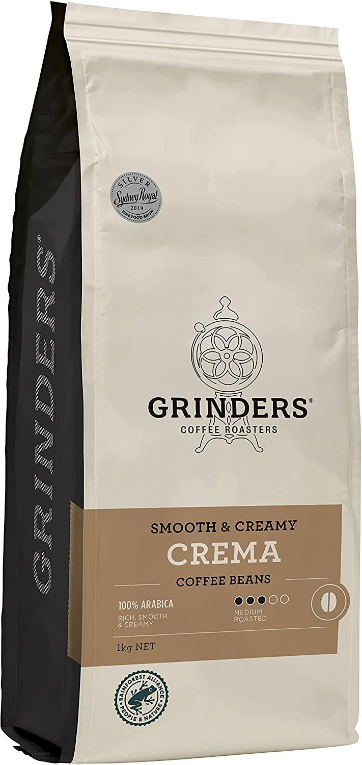 roasted Crema beans from Grinders Coffee,