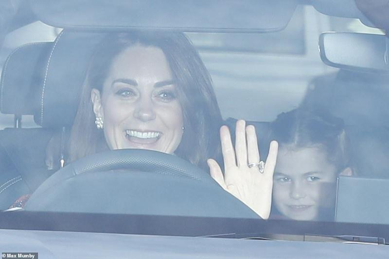 The Duchess of Cambridge driving to Buckingham Palace