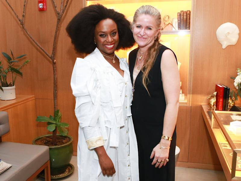 Chimamanda Ngozi Adichie and Beth Bugdaycay attend a celebration FOUNDRAE's collaboration with Chimamanda Ngozi Adichie.