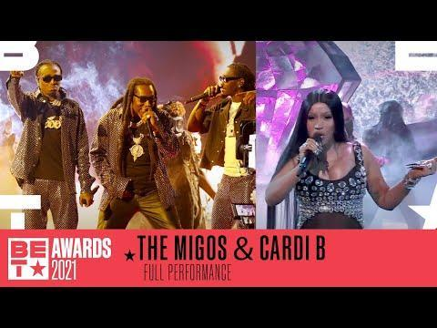 """<p>During the 2021 BET awards rap trio Migos took to the stage to perform two of their hits, which for the latter ('Type Sh*t') they were joined by Cardi B - who is also married to Migos member Offset.</p><p>This wasn't the inly surprise for the crowd, Cardi B also used the platform to confirm her second pregnancy, wearing a diamond encrusted jumpsuit with sheer material over the belly to show her baby bump.</p><p>This is the second child for Cardi B and Offset, who are already <a href=""""https://www.elle.com/uk/life-and-culture/a35137989/cardi-b-wap-kulture/"""" rel=""""nofollow noopener"""" target=""""_blank"""" data-ylk=""""slk:parents to two-year-old daughter, Kulture."""" class=""""link rapid-noclick-resp"""">parents to two-year-old daughter, Kulture. </a></p><p><a href=""""https://www.elle.com/uk/life-and-culture/a34037126/cardi-b-divorce-offset/"""" rel=""""nofollow noopener"""" target=""""_blank"""" data-ylk=""""slk:Though Cardi B filed for divorce"""" class=""""link rapid-noclick-resp"""">Though Cardi B filed for divorce</a> from the rapper last September, she decided against it in November. </p><p>Congrats to the couple!</p><p><a href=""""https://www.youtube.com/watch?v=g75yk7GfdAo"""" rel=""""nofollow noopener"""" target=""""_blank"""" data-ylk=""""slk:See the original post on Youtube"""" class=""""link rapid-noclick-resp"""">See the original post on Youtube</a></p>"""