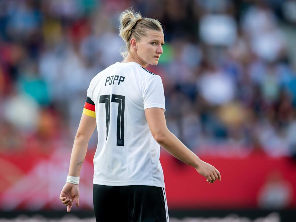REGENSBURG, GERMANY - MAY 30:  Alexandra Popp of Germany turns around during the international friendly match between Germany Women and Chile Women at Continental Arena on May 30, 2019 in Regensburg, Germany. (Photo by Boris Streubel/Getty Images)
