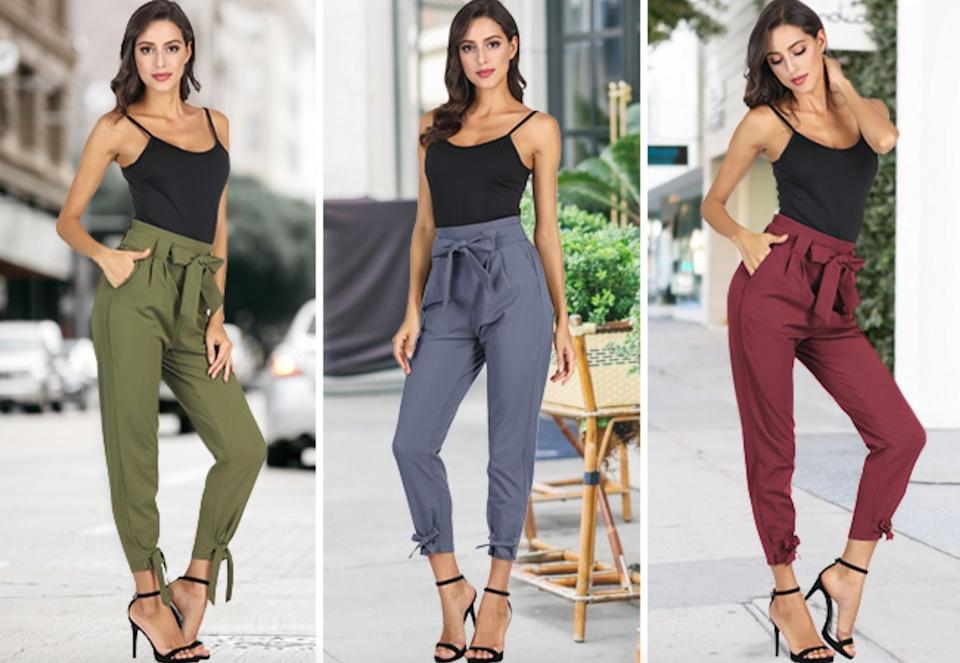 """These pants have an adorable bow detailing at the waist and ankles and functional pockets. The good news is if you really fall in love with them, they're available in 36 (!!!) colors.<br /><br /><strong>Promising review</strong>: """"Absolutely perfect!<strong>I ordered them in black for work pants but after getting them in I ordered them in multiple other colors because they are now my go-to pants for going to work and going out 10/10 would recommend.</strong>I waited to make this review to be sure I could afford to buy all the colors I wanted first because I know this product will TAKE OFF when people try them on!"""" —<a href=""""https://www.amazon.com/gp/customer-reviews/R3625XUYLOREZZ?&linkCode=ll2&tag=huffpost-bfsyndication-20&linkId=5ae01c051b486d6c3db625ed3777df92&language=en_US&ref_=as_li_ss_tl"""" target=""""_blank"""" rel=""""nofollow noopener noreferrer"""" data-skimlinks-tracking=""""5876227"""" data-vars-affiliate=""""Amazon"""" data-vars-href=""""https://www.amazon.com/gp/customer-reviews/R3625XUYLOREZZ?tag=bfchelsea-20&ascsubtag=5876227%2C15%2C35%2Cmobile_web%2C0%2C0%2C16401016"""" data-vars-keywords=""""cleaning,fast fashion"""" data-vars-link-id=""""16401016"""" data-vars-price="""""""" data-vars-product-id=""""20980924"""" data-vars-product-img="""""""" data-vars-product-title="""""""" data-vars-retailers=""""Amazon"""">Addison Stick</a><br /><br /><a href=""""https://www.amazon.com/GRACE-KARIN-Womens-Bow-Knot-Pockets/dp/B086W41RKN?&linkCode=ll1&tag=huffpost-bfsyndication-20&linkId=22f8e31a9819a8d06116cd09a47dc2fe&language=en_US&ref_=as_li_ss_tl"""" target=""""_blank"""" rel=""""noopener noreferrer""""><strong>Get them from Amazon for$18.35+(available in sizes S-XXL and in 36 colors).</strong></a>"""