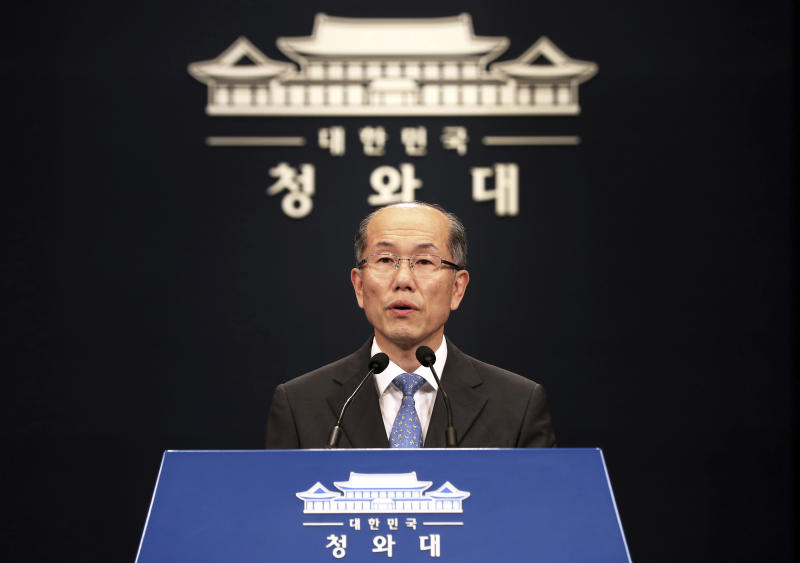Kim You-geun, deputy chief of South Korea's presidential national security office, speaks during a press conference at the presidential Blue House in Seoul, South Korea, Friday, July 12, 2019. South Korea proposed an investigation by the United Nations or another international body as it continues to reject Japanese claims that Seoul could not be trusted to faithfully implement sanctions against North Korea. (Lee Yun-chung/Newsis via AP)