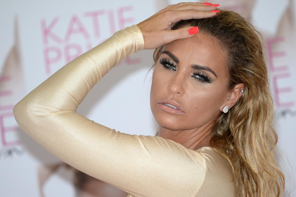 LONDON, ENGLAND - SEPTEMBER 21:  Katie Price unveils her new Book 'Reborn' at The Worx on September 21, 2016 in London, United Kingdom.  (Photo by Anthony Harvey/Getty Images)