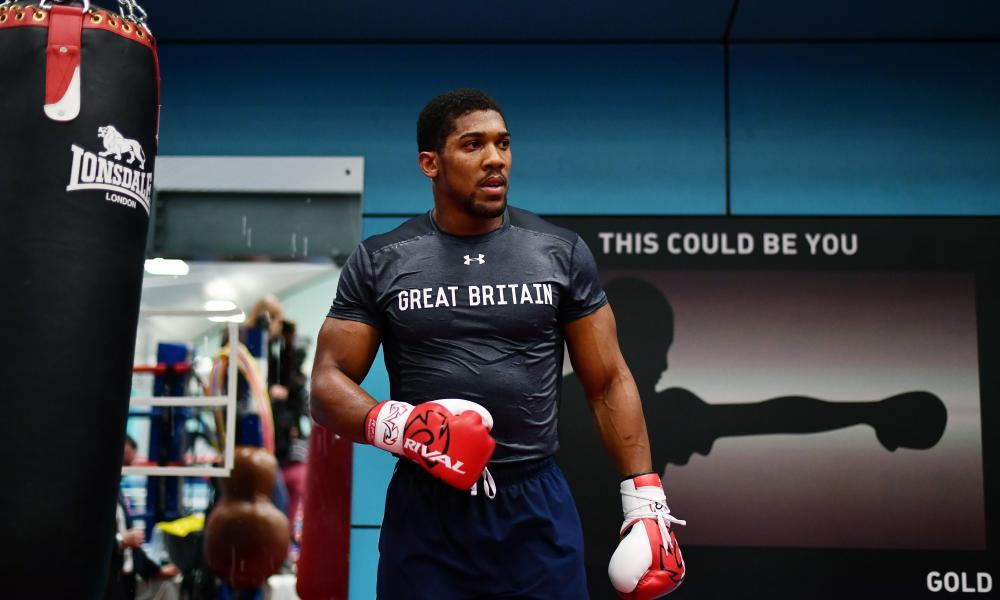 Anthony Joshua trains during the media workout in Sheffield