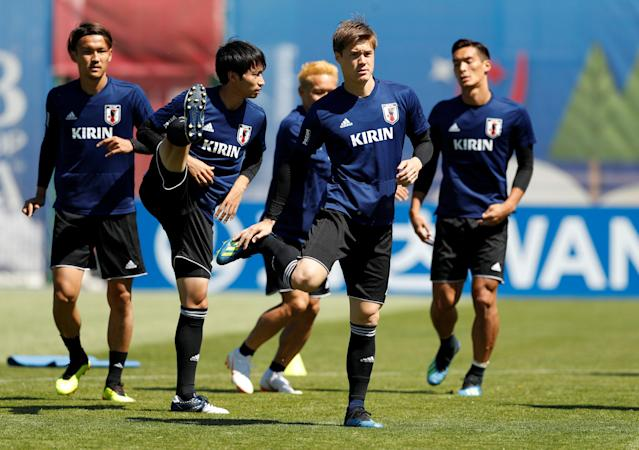 Soccer Football - World Cup - Japan Training - Japan Training Camp, Kazan, Russia - June 17, 2018 Japan's Gotoku Sakai with team mates during training REUTERS/John Sibley