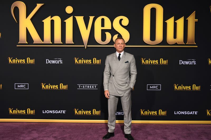 "FILE PHOTO: Daniel Craig attends the premiere of ""Knives Out"" in Los Angeles"