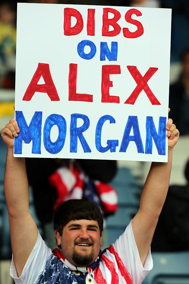 GLASGOW, SCOTLAND - JULY 28: A USA fan holds up a sign during the Women's Football first round Group G match between United States and Colombia on Day 1 of the London 2012 Olympic Games at Hampden Park on July 28, 2012 in Glasgow, Scotland.  (Photo by Stanley ChouGetty Images)