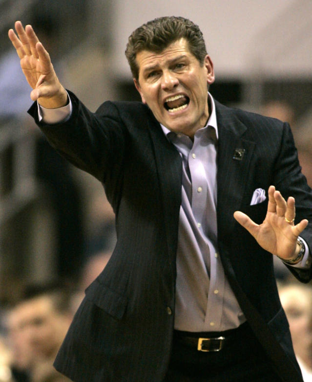 FILE - In this March 25, 2008, file photo, Connecticut coach Geno Auriemma reacts as his team plays Texas during the second half of a second-round NCAA women's basketball tournament game in Bridgeport, Conn. For over a decade the rivalry in women's basketball was Tennessee and UConn. After a 13-year absence the two teams will play Thursday night, Jan. 23, 2020, in Hartford, Connecticut. The two powerhouse teams led by Hall of Fame coaches Pat Summitt and Geno Auriemma put the sport on the national scene starting with their historic first matchup in 1995 that was a 1 vs 2 showdown. (AP Photo/Ed Betz, File)