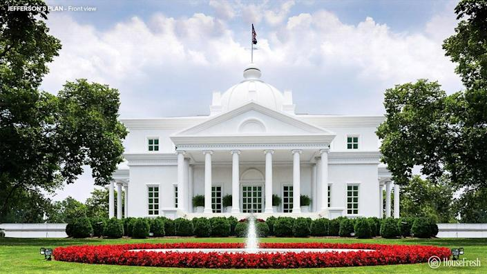 Front view of the White House designed by Thomas Jefferson.