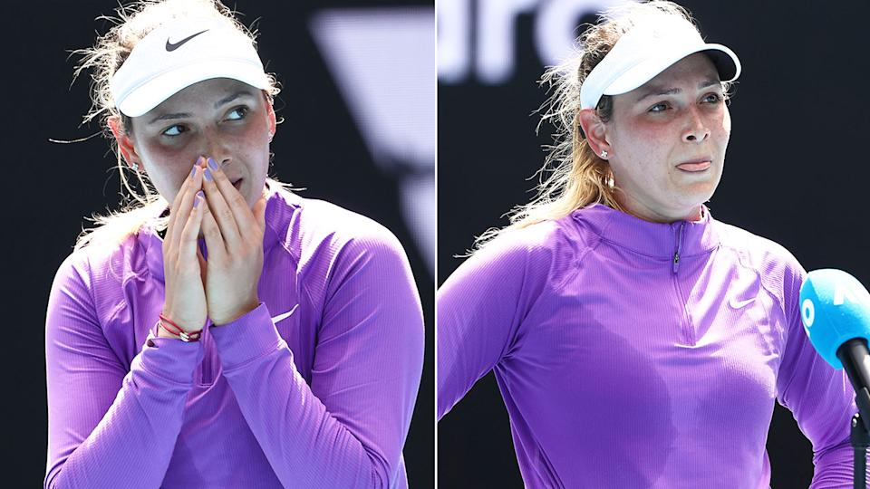 Seen here, an emotional Donna Vekic reacts to her dramatic Australian Open comeback win.