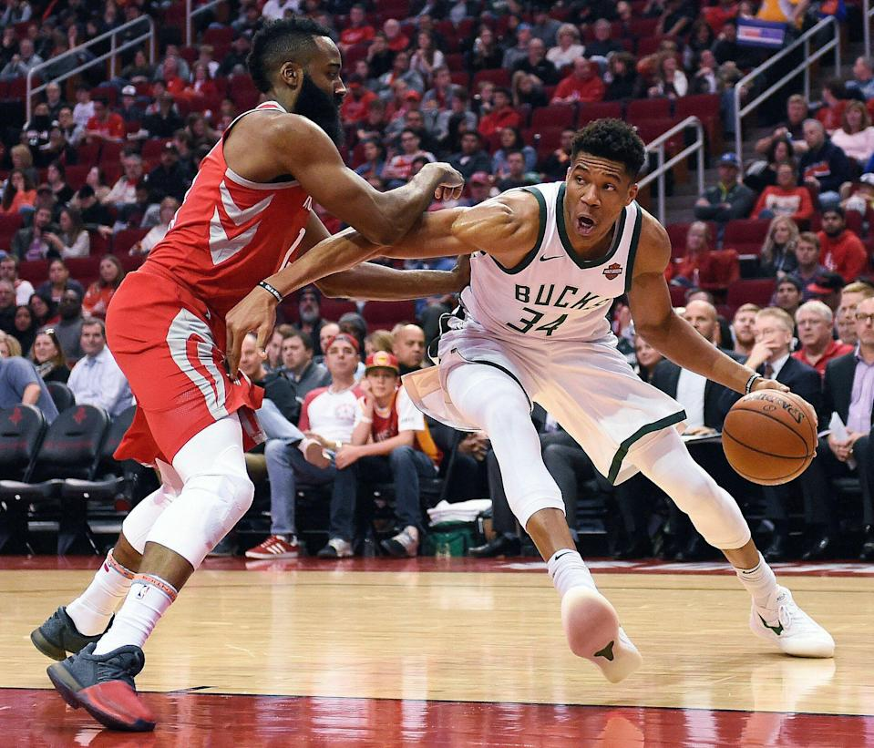 Milwaukee Bucks forward Giannis Antetokounmpo and Houston Rockets guard James Harden are the league's lone unanimous First Team All-NBA selections. (AP)