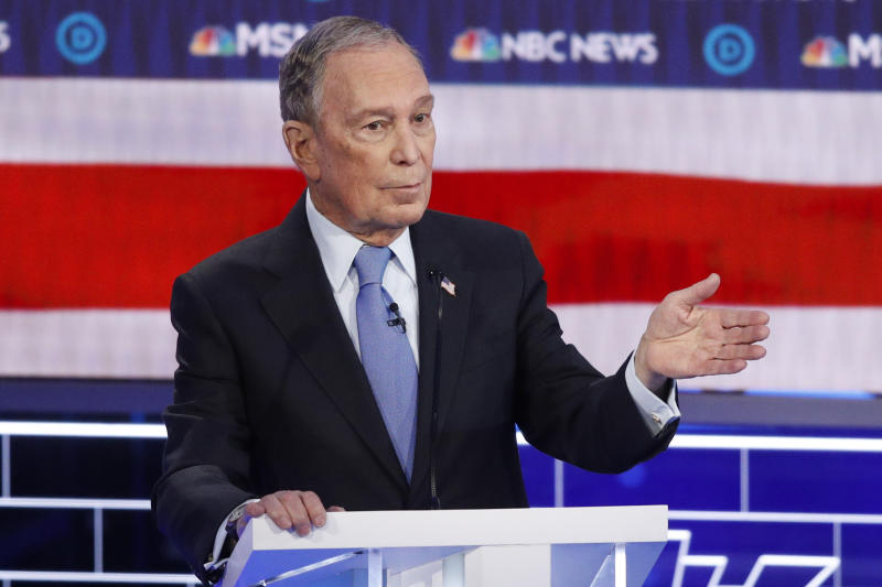 Democratic presidential candidate, former New York City Mayor Mike Bloomberg speaks during a Democratic presidential primary debate Wednesday, Feb. 19, 2020, in Las Vegas, hosted by NBC News and MSNBC.(AP Photo/John Locher)