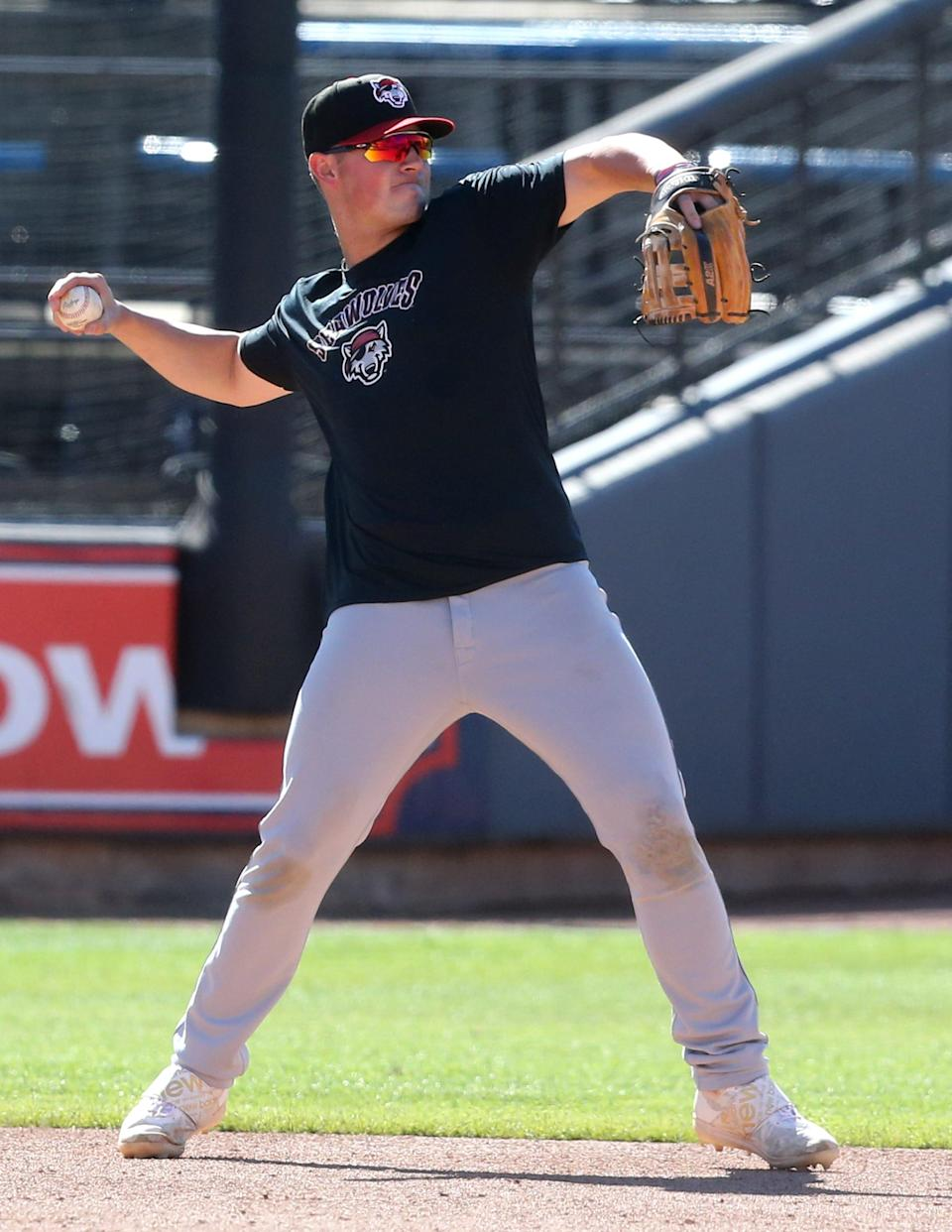 Spencer Torkelson of the Erie SeaWolves takes infield practice prior to their game against the Akron RubberDucks at Canal Park in Akron on Tuesday, June 22, 2021.