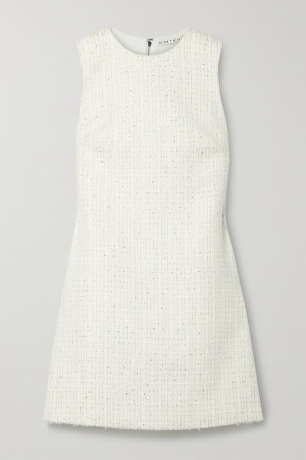 """<p>Alice + Olivia Coley Metallic Tweed Mini Dress, $295, <a href=""""https://rstyle.me/+t-VnOpvDd8c_sIwvjYrNIw"""" rel=""""nofollow noopener"""" target=""""_blank"""" data-ylk=""""slk:available here"""" class=""""link rapid-noclick-resp"""">available here</a> (sizes 0-12).</p>"""