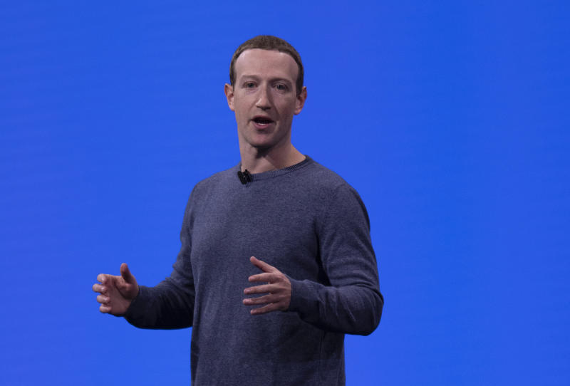 Facebook CEO Mark Zuckerberg delivers the keynote speech during Facebook Developer Conference F8 2019 at the McEnery Convention Center in San Jose, California, United States on April 30, 2019. (Photo by Yichuan Cao/Sipa USA)