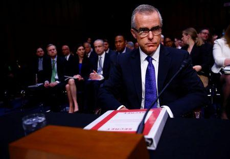 Acting FBI Director Andrew McCabe arrives to testify before the U.S. Senate Select Committee on Intelligence on Capitol Hill in Washington