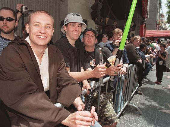 Fans queue outside Mann's Chinese Theatre in Hollywood for 'Phantom Menace' tickets (AFP/Getty)