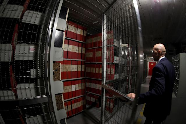 An employee opens the Vatican Secret Archives area on the pontificate of Pope Pius XII in Vatican City, Vatican. (Getty Images)