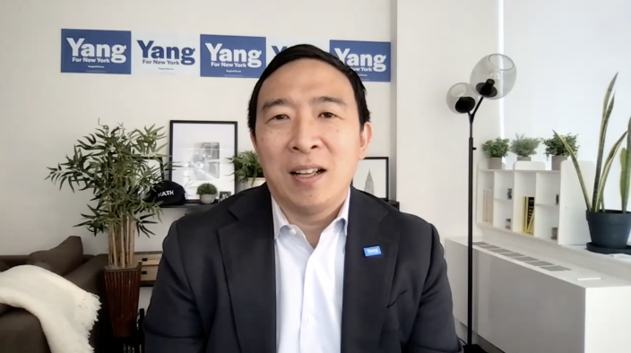 Andrew Yang talks to CBS News about his campaign for New York City mayor. / Credit: CBS News